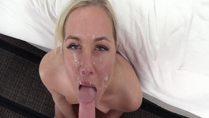 Long legs and very cute blonde hardcore pussy licking