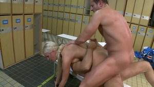 Bald european blonde has a thing for threesome in HD