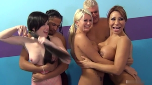 Blonde Ava Devine with Laela Pryce group sex