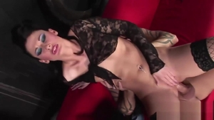 Brunette Lulu Martinez in tight stockings finds dick to fuck