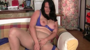 British mature in nylon masturbating solo
