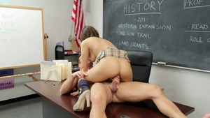 Couple Sara Luvv goes wild on cock in school