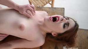 Redhead feels in need of rough loud sex outdoors