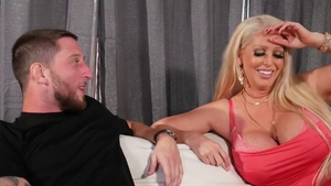 Hot & tattooed blonde deepthroat on the couch