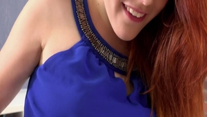Small tits and wet spanish redhead Amarna Miller toys solo