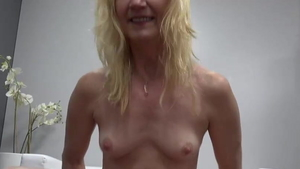 Small tits blonde rough sucking cock at the casting