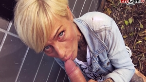 Hawt german MILF cumshot in public