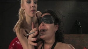 Charley Chase together with Annette Schwarz smoking