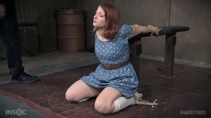 Young redhead in socks domination BDSM