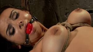 Lesbo Ariel X in stockings raw sex with toys at the party