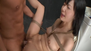 Rough asian pussy fuck in the toilet