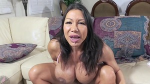 Solo Ava Devine asian MILF busty bouncing on a dick