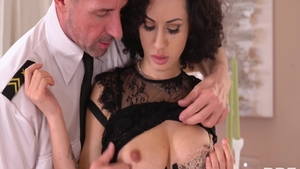 Glamour couple Ennio Guardi wearing dress POV cowgirl sex