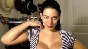 Big tits female bends over after interview in HD