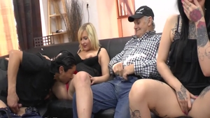 Hottest french babe goes in for foursome in HD