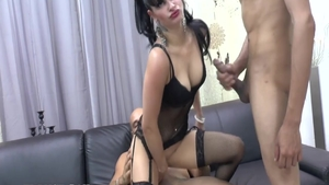 French in fishnets interracial bang at the castings