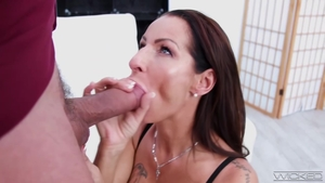Tattooed stepmom cumshot in HD