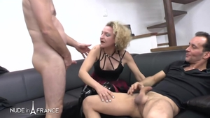 Cumshot nude french in sexy stockings in HD