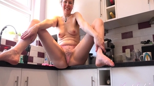Amazing housewife pussy fuck in the kitchen