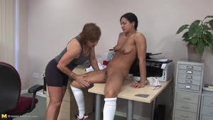 Huge boobs lesbian mother rub their clits together
