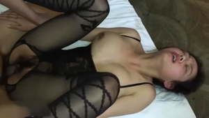 Sex with toys together with big tits hairy japanese brunette