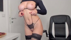 Redhead smoking natural in her lingerie solo