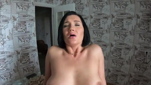 Hard pounding alongside large boobs german mature