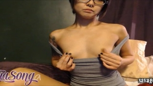 Squirts starring petite babe in glasses