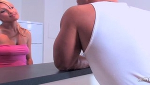 Hard pounding in company with blonde