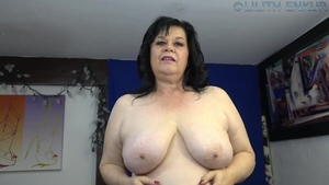 Huge tits MILF stroking solo