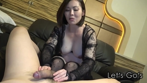 Feet fetish tattooed asian in tight stockings