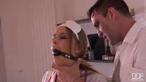 Candy Alexa in her lingerie gagging in clinic HD