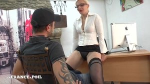 Hot french blonde babe rimming in office