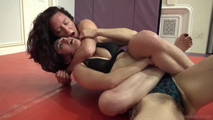 Lesbo bondage femdom humping in the gym