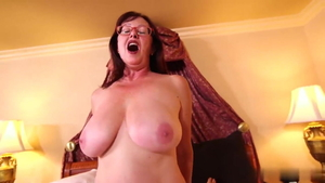 POV cock sucking in company with saggy tits granny