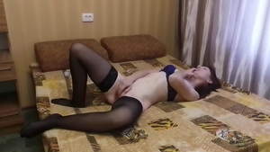 Lonely housewife finds pleasure in loud sex in sexy stockings