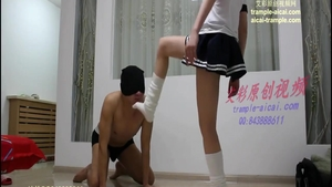 Femdom together with japanese schoolgirl in socks after school