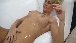 Oiled raw sex in company with czech blonde babe