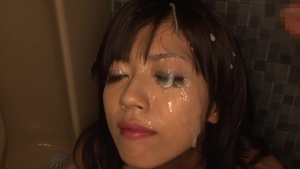 Cum on face along with exotic woman asian