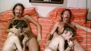 Hottest wild brunette hardcore group sex in the bed