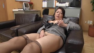 Big tits very hot japanese MILF kissing each other in office