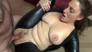 Melanie Hicks escorted by Black Cat cosplay cock sucking