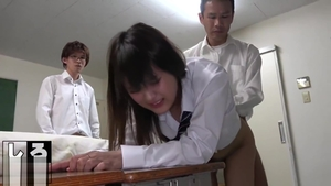 Asian schoolgirl touching big butt